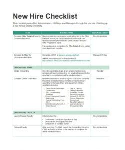 50 useful new hire checklist templates & forms ᐅ template lab pre employment checklist template excel