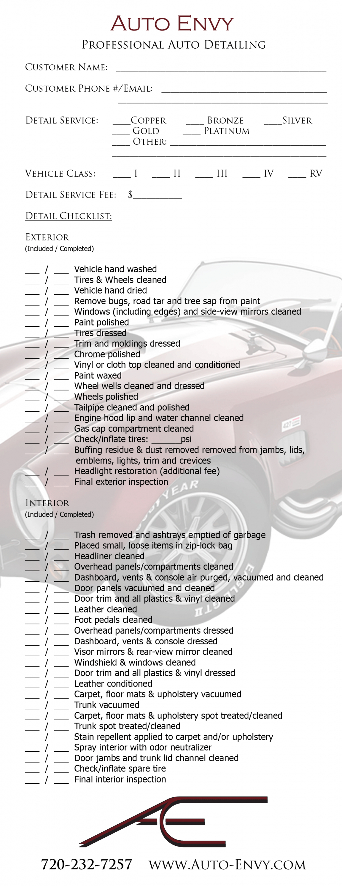 Auto Detailing Wikipedia Car Checklist Pdf Professional Inspection