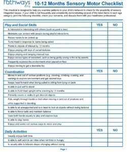 child development checklists sensory integration asd integration checklist template