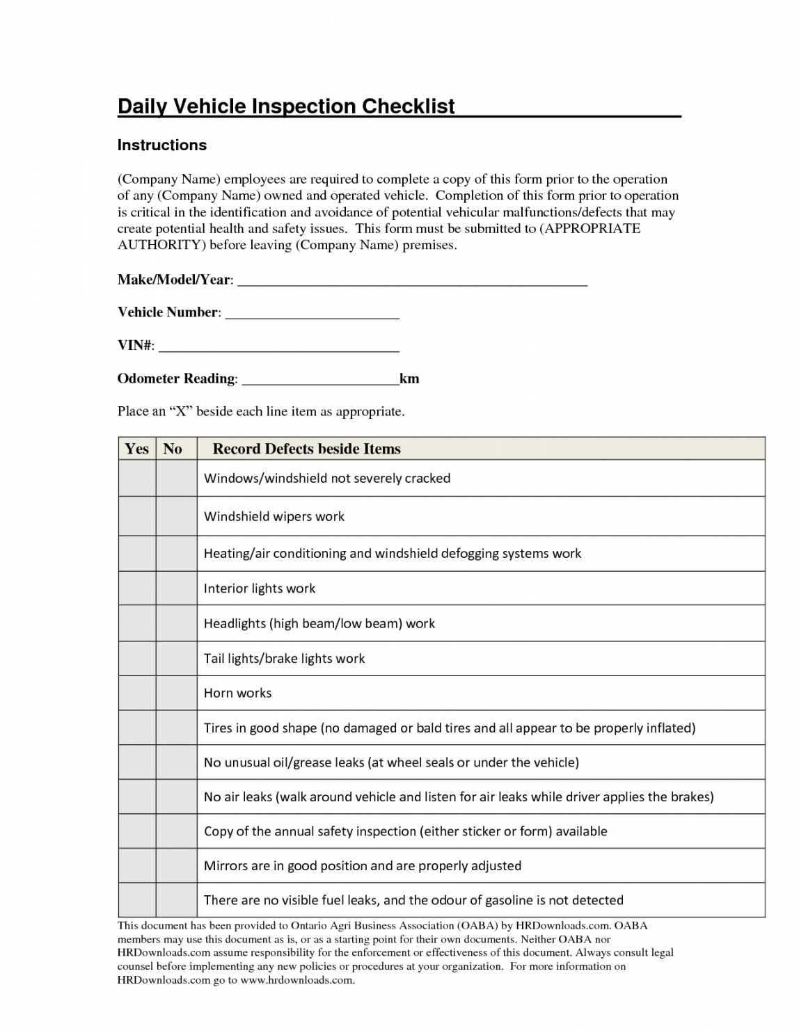 daily vehicle inspection checklist form image gallery  photogyps daily vehicle maintenance checklist template