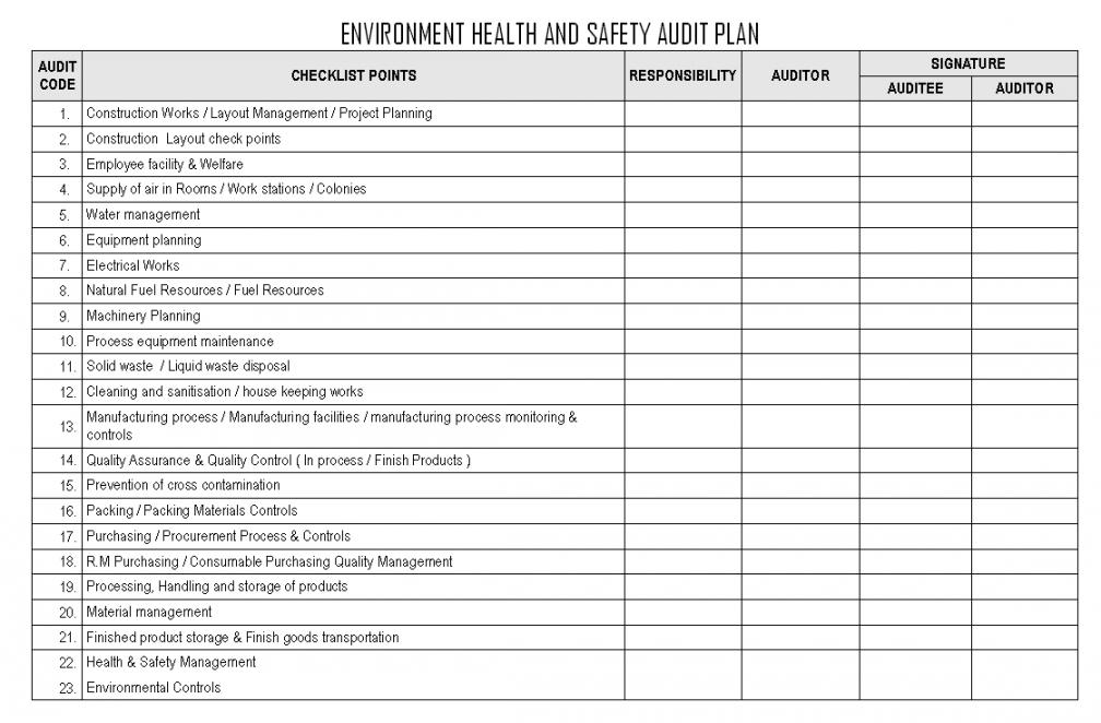 editable audit planning checklist external internal template statutory environmental audit checklist template pdf