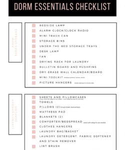 editable checklist template samples college dorm clothes entials party college checklist template samples