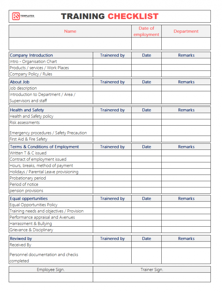 editable employee training checklist template for excel & word  printable format safety training checklist template excel