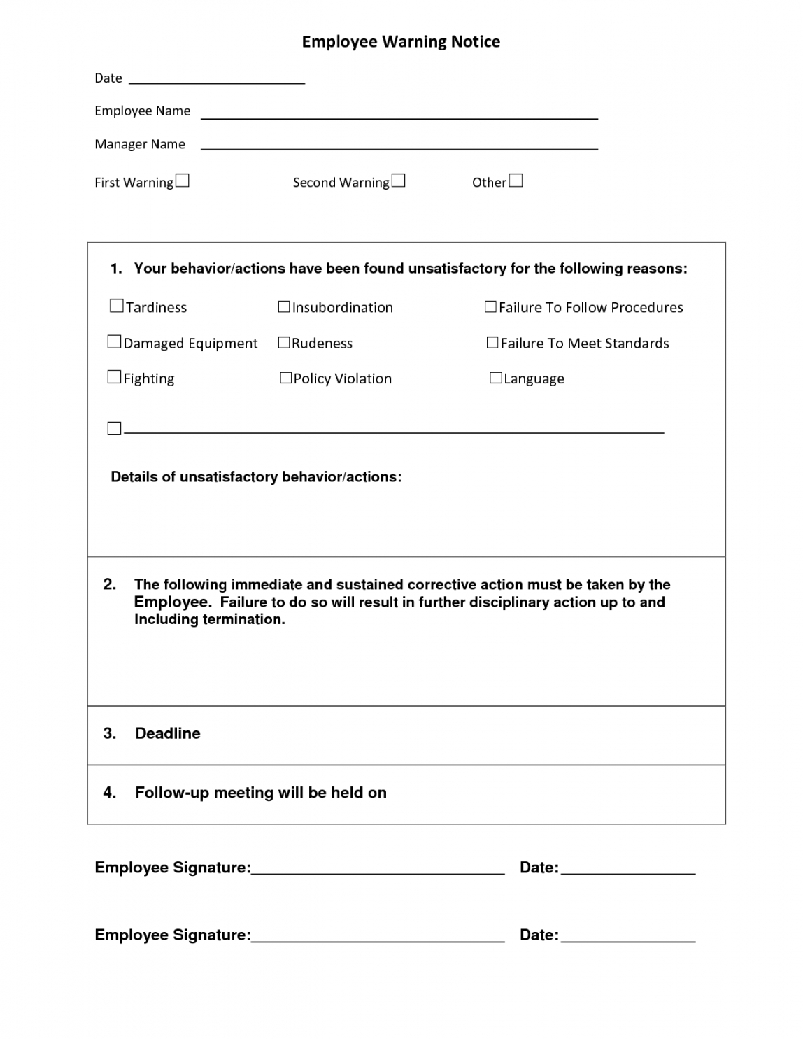 editable employee warning notice  employee forms  resume template free pre employment checklist template examples