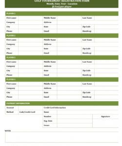 editable golf tournament registration form golf tournament checklist template