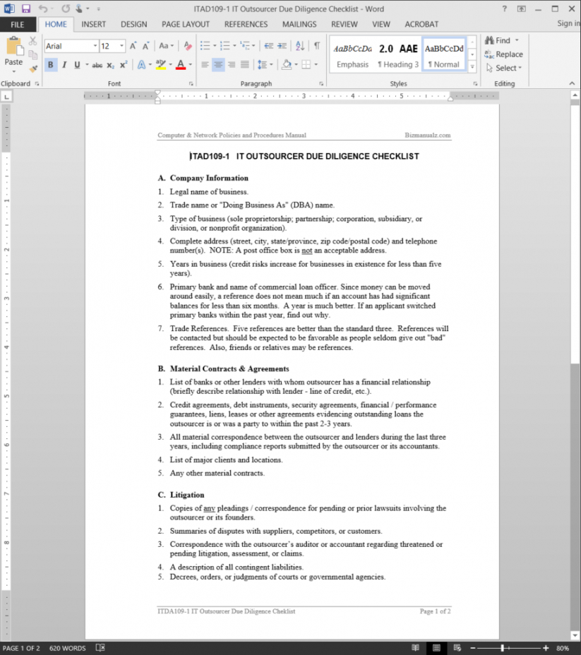 editable it outsource due diligence checklist template vendor due diligence checklist template excel