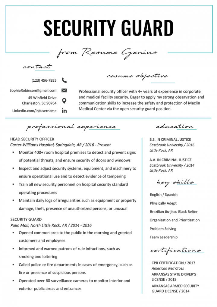 editable security guard resume sample & writing tips  resume genius security patrol checklist template samples