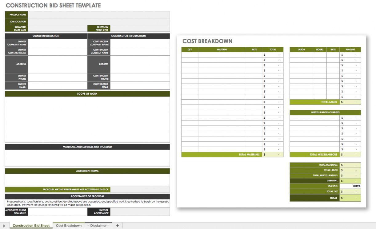 editable the master guide to construction bidding  smartsheet construction bid checklist template excel