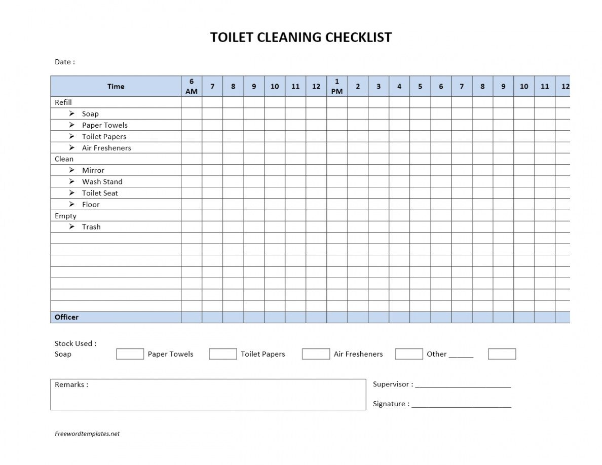 Editable Toilet Cleaning Checklist Public Restroom ...
