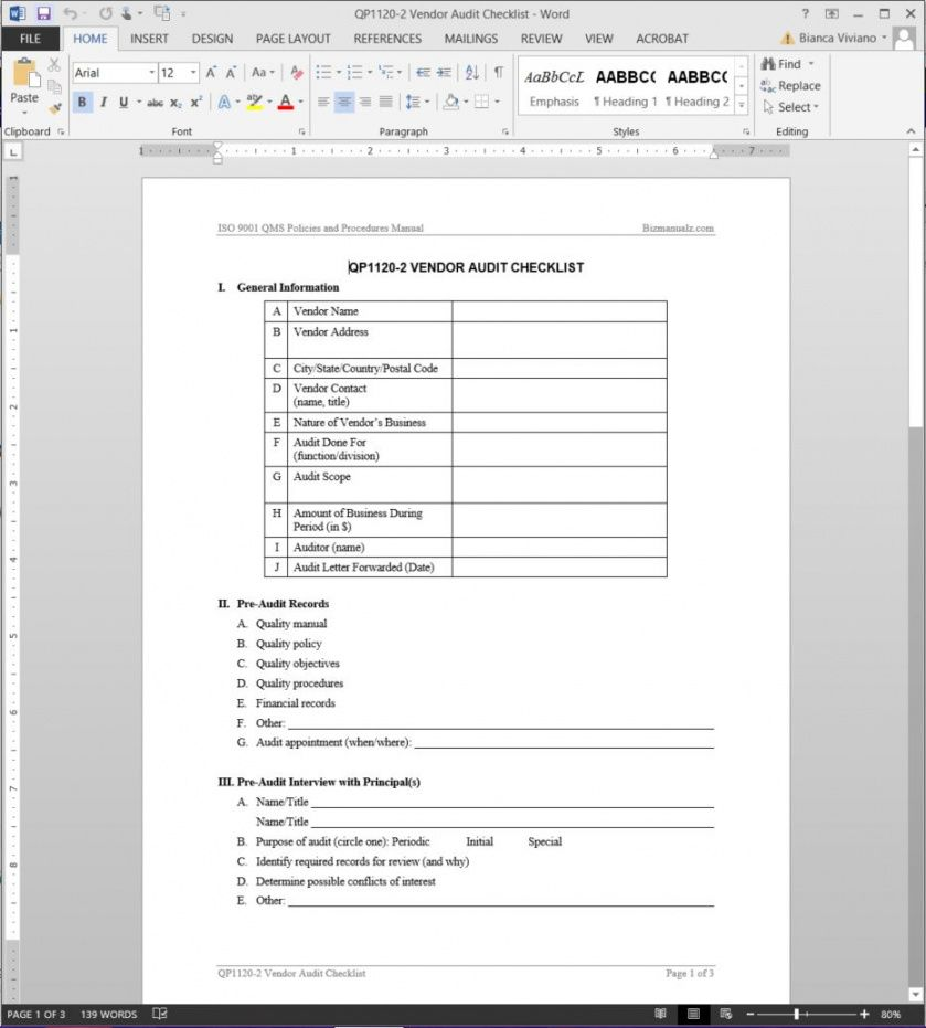 editable vendor audit checklist iso template new vendor checklist template doc