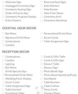 editable wedding decor checklist — everything you need to plan your wedding wedding decoration checklist template excel