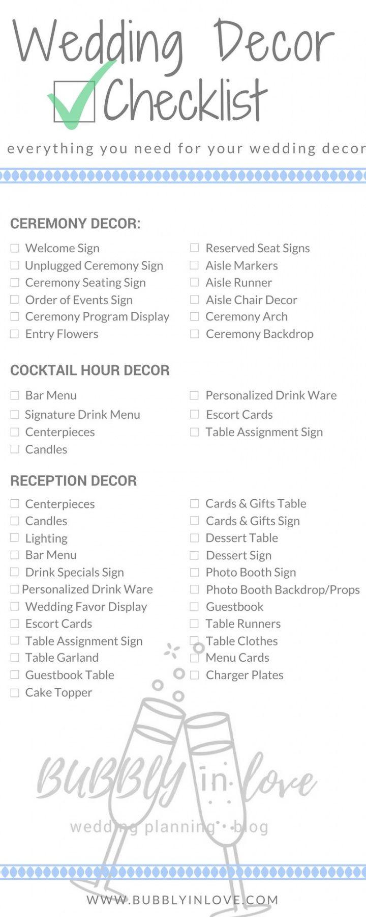 editable wedding decor checklist — everything you need to plan your wedding wedding decoration checklist template excel