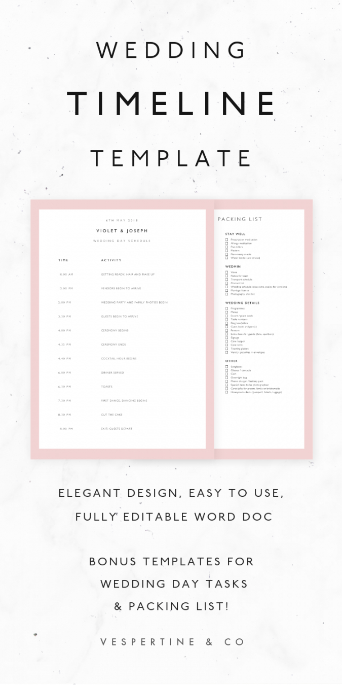 editable wedding timeline template · bridal wedding day schedule packing wedding timeline checklist template examples