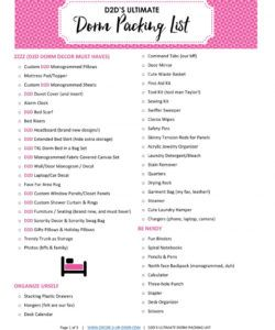 editable what to bring college free dorm packing list printable checklist college checklist template excel