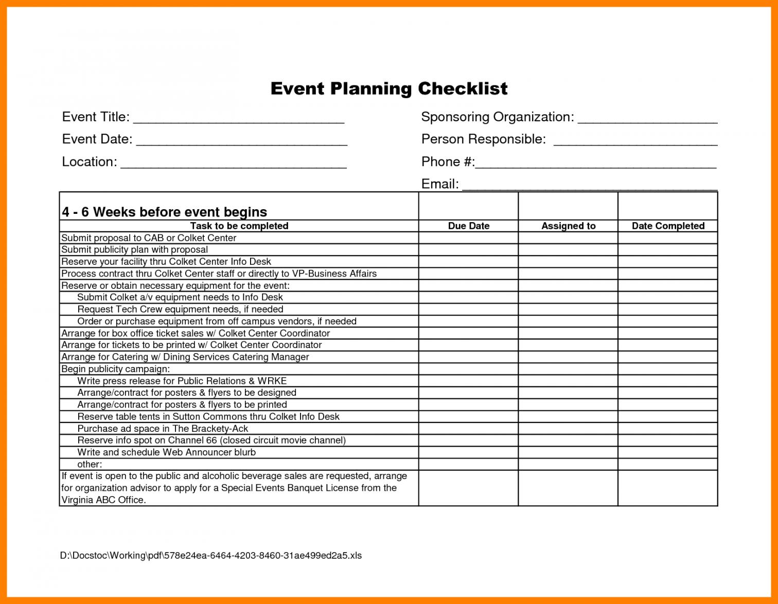 event planner template free  captaincicerosco corporate event checklist template samples
