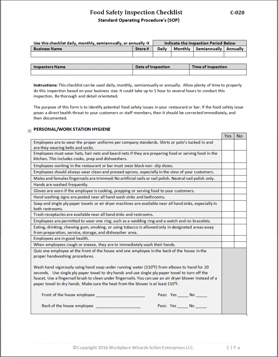 food safety inspection checklist  workplacewizards restaurant food safety inspection checklist template pdf