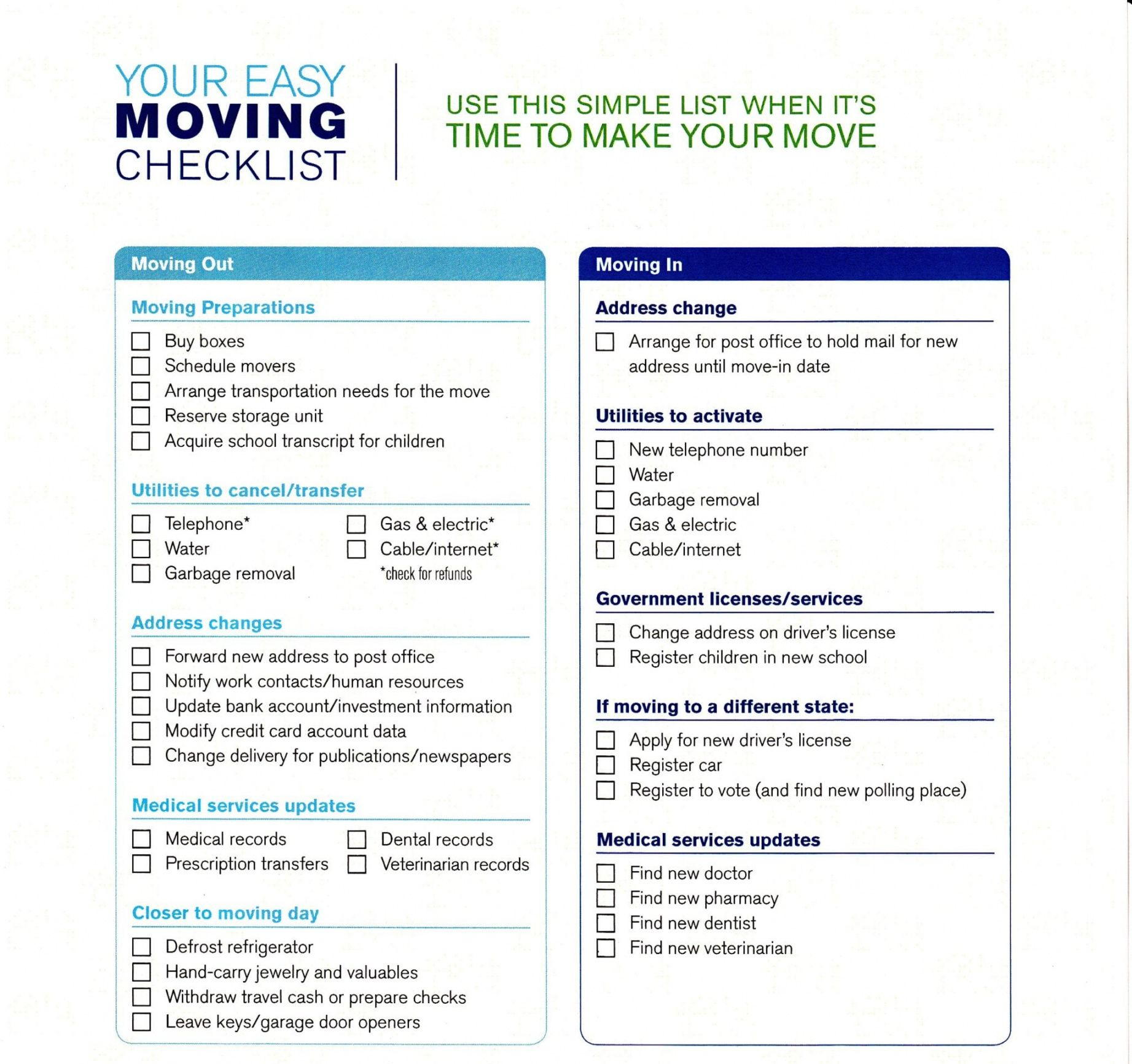 free 5 moving checklist templates  word templates office move checklist template pdf