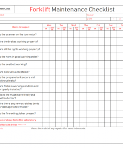 free checklist template samples forklift inspection maintenance daily forklift safety checklist template pdf