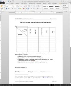 free critical vendor contractor evaluation iso template vendor checklist template examples