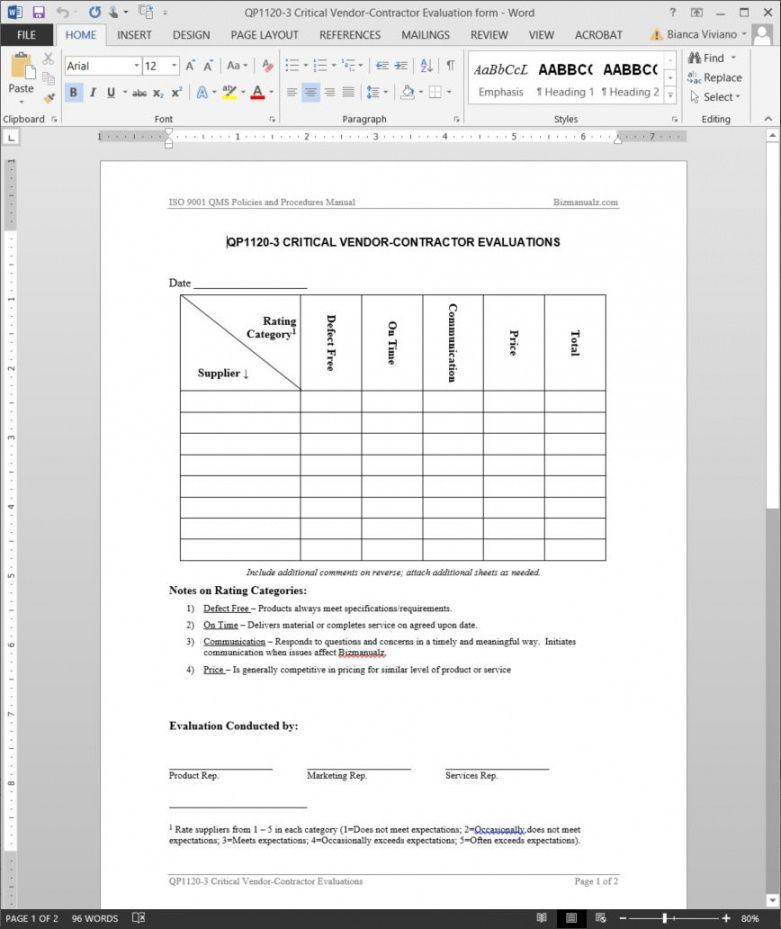 free critical vendor contractor evaluation iso template vendor checklist template examples
