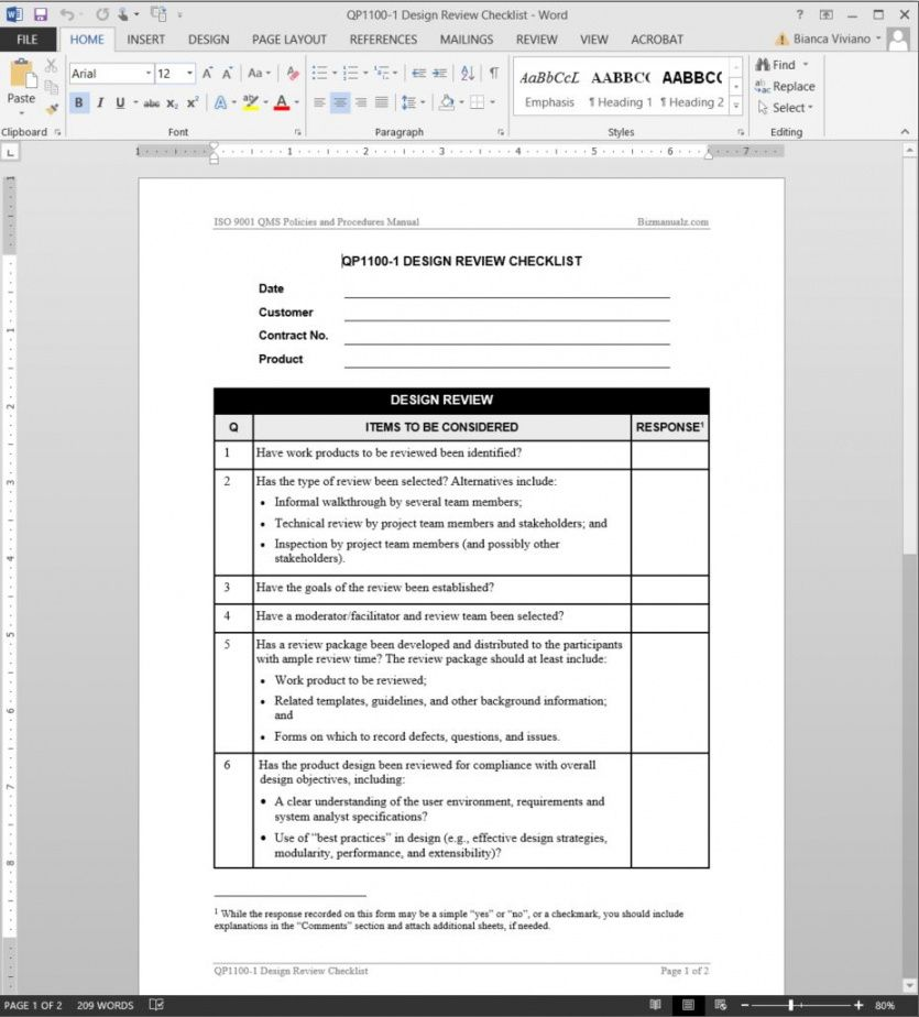 free design review checklist iso template technical checklist template doc