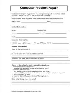 free equipment repair form template  starkhouseofstraussco computer repair checklist template samples
