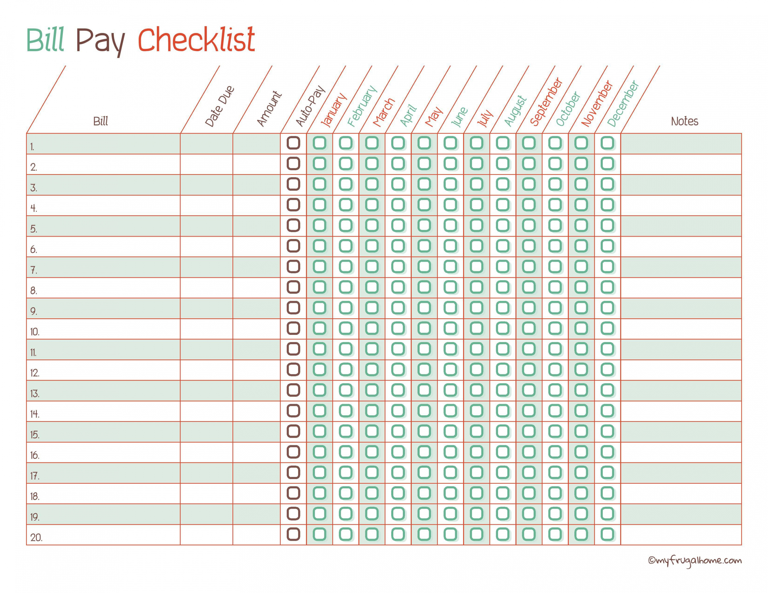 free free printable bill pay calendar templates bill payment checklist template samples