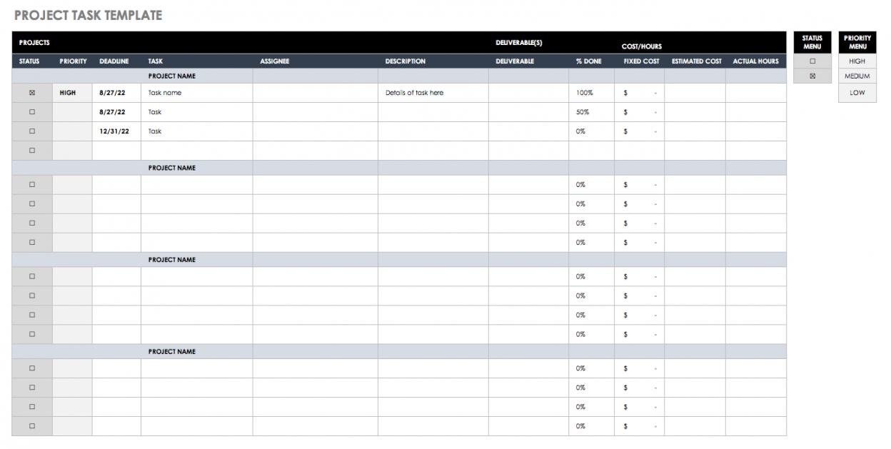 free free task and checklist templates  smartsheet work checklist template excel