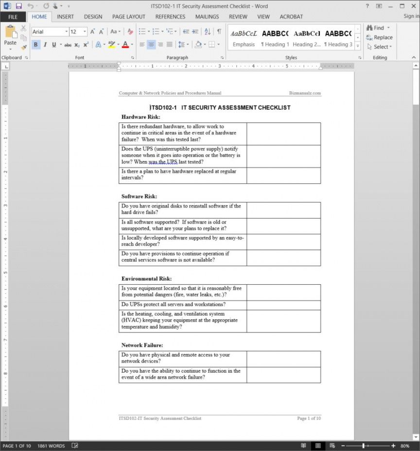 free it security assessment checklist template security assessment checklist template