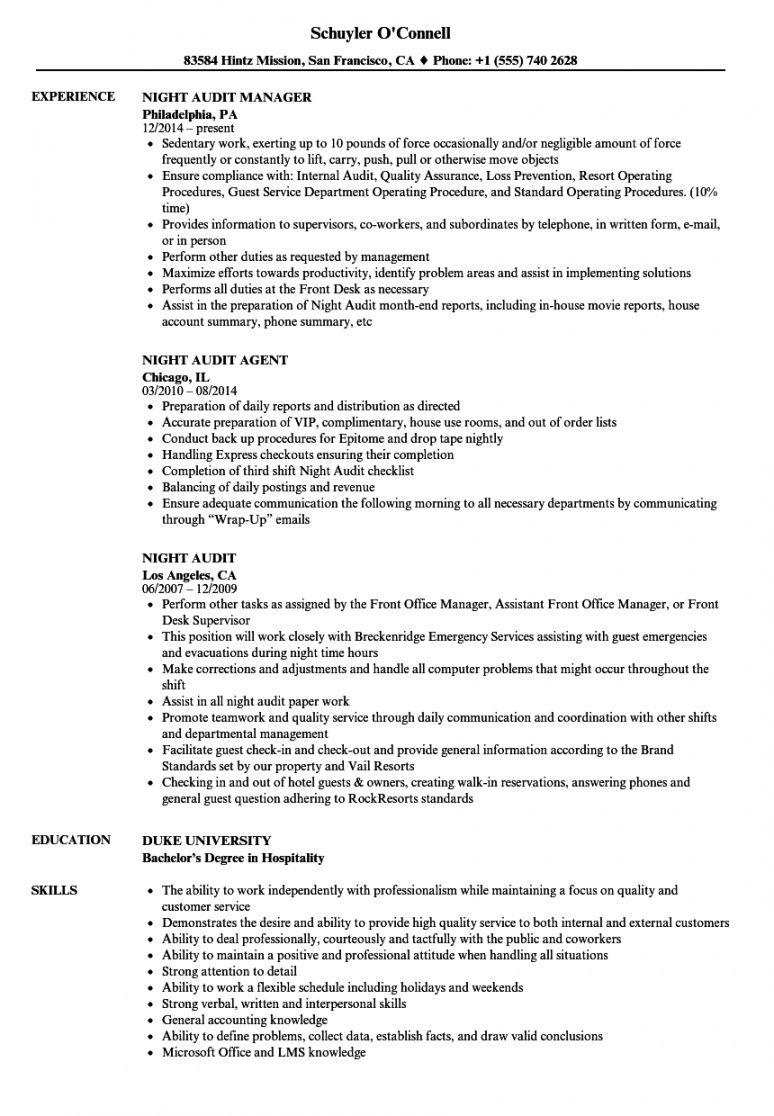 free night audit resume samples  velvet jobs night audit checklist template excel