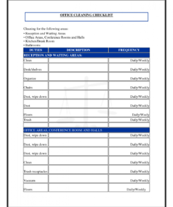 free officecleaningchecklisttemplate  shelley marshman  bathroom janitorial cleaning checklist template samples