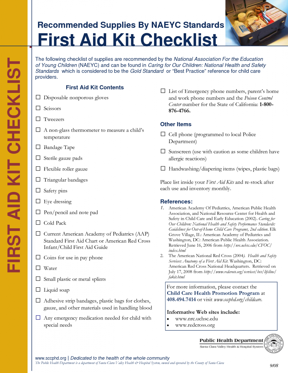 free printable first aid kit checklist chart pdf prepared template first aid supply checklist template