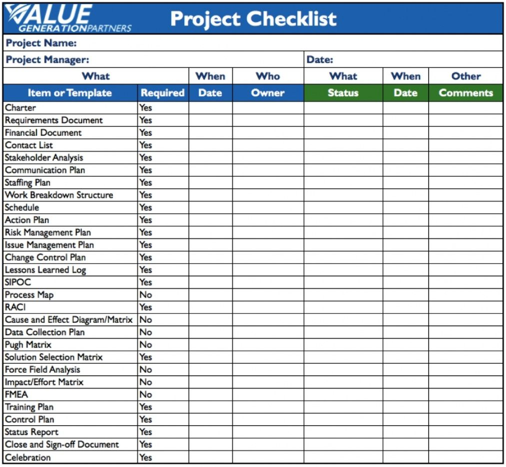 free project checklist template excel free download charter example it project checklist template