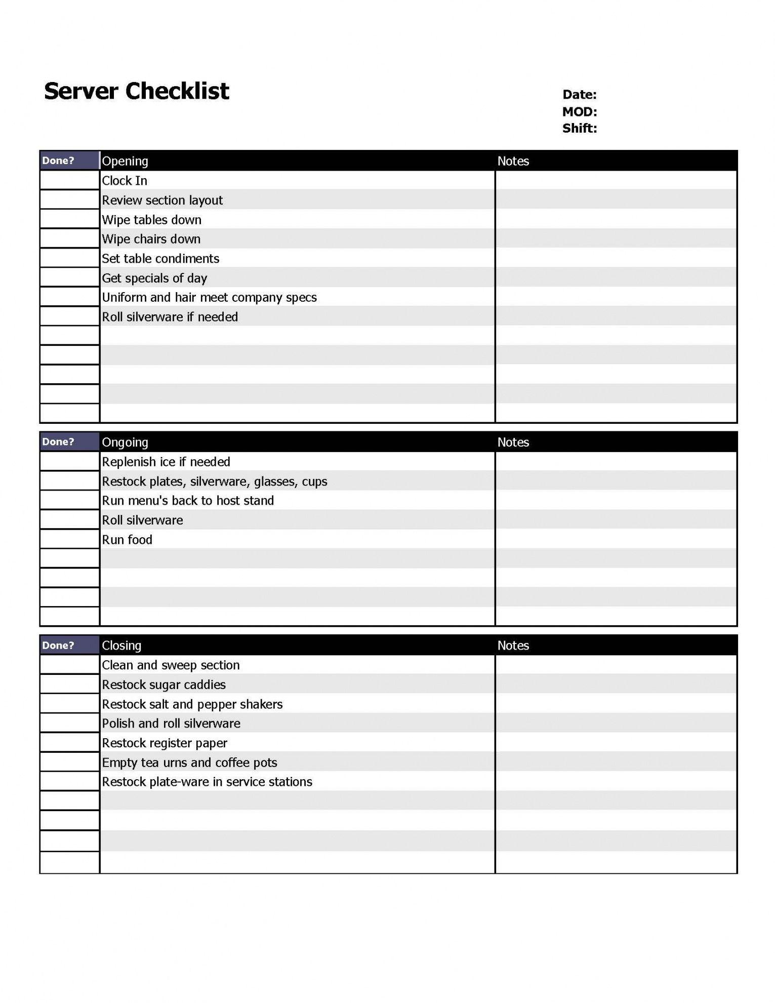 free restaurant server checklist form  organizing  restaurant service uniform checklist template