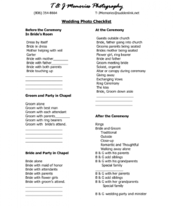 free wedding photography checklist template  wedding photo checklist wedding photographer checklist template