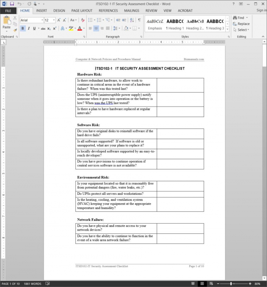 it security assessment checklist template security risk assessment checklist template examples