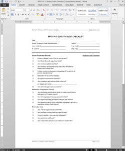 manufacturing quality audit checklist template  mfg1101 internal audit quality assurance checklist template samples