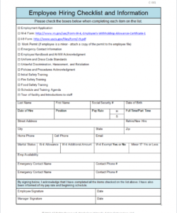new hire checklist te employee excel free pdf for hr  martinforfreedom employee new hire checklist template