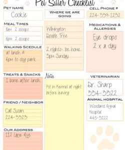 pet sitter checklist  travel  dogs portable dog kennels dog dog sitting checklist template doc