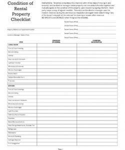 printable 10 rental checklist examples  pdf  examples condition of rental property checklist template excel