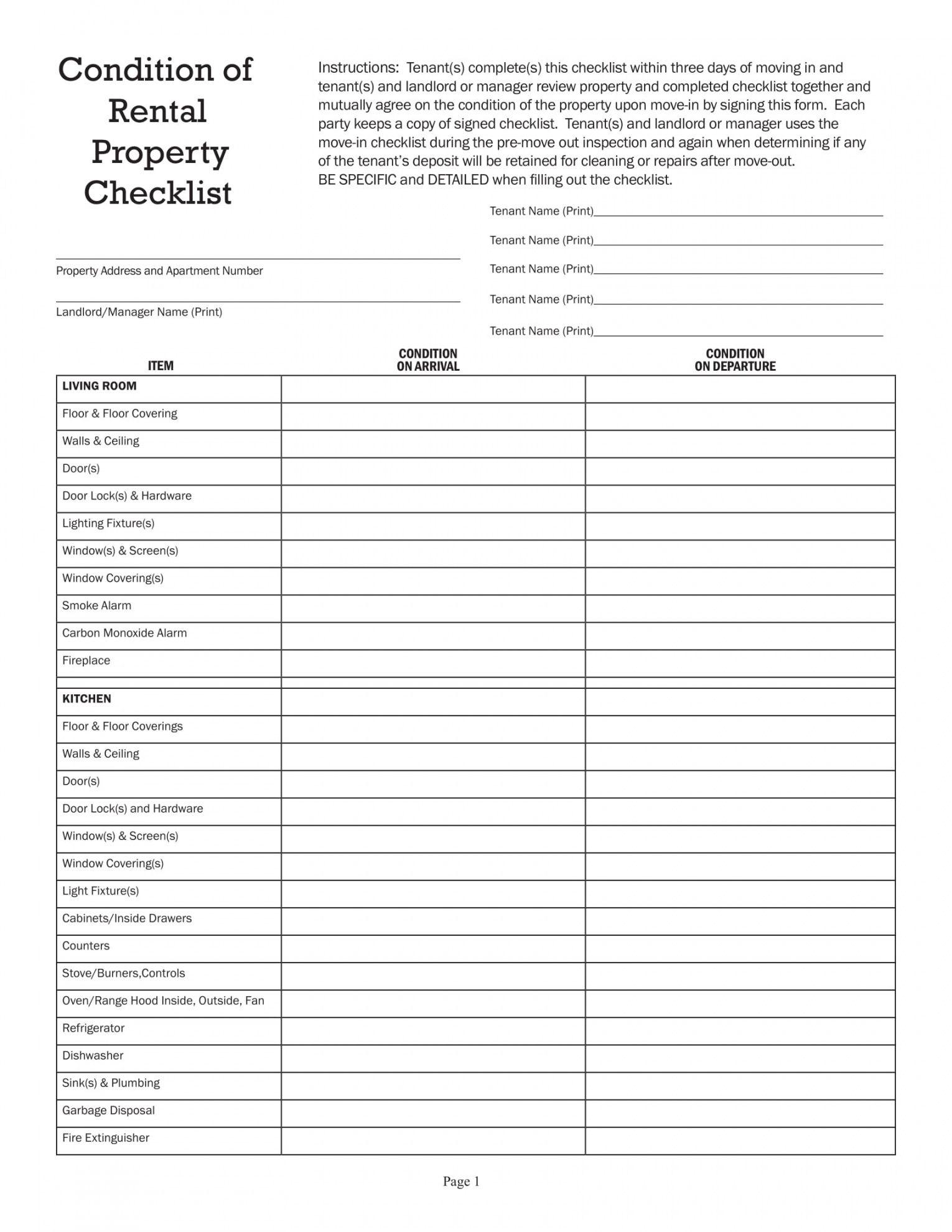 printable 10 rental checklist examples  pdf  examples rental property checklist template