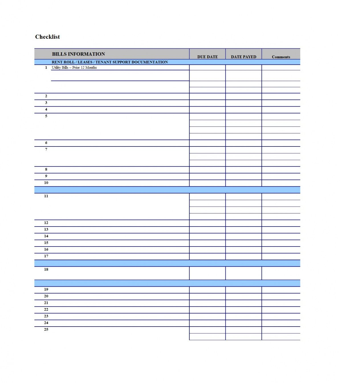 printable 32 free bill pay checklists & bill calendars pdf word & excel payment checklist template