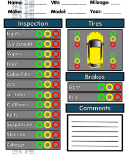 printable 6 free vehicle inspection forms  modern looking checklists for mechanic checklist template excel