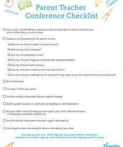 printable checklist for parentteacher conferences  signup parent teacher conference checklist template doc