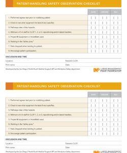 printable checklist template samples observation safety labor management safety observation checklist template doc