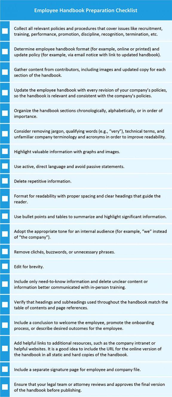 printable employee and company handbook templates  smartsheet employee handbook checklist template excel