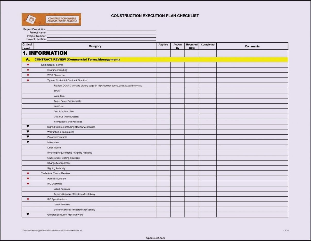 printable excel project checklist template  ajancicerosco it project checklist template