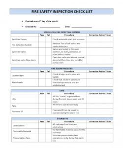 printable fire safety inspection checklist safety inspection checklist template examples