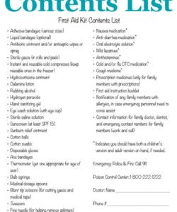 printable first aid kit contents list what you really need first aid kit contents checklist template examples