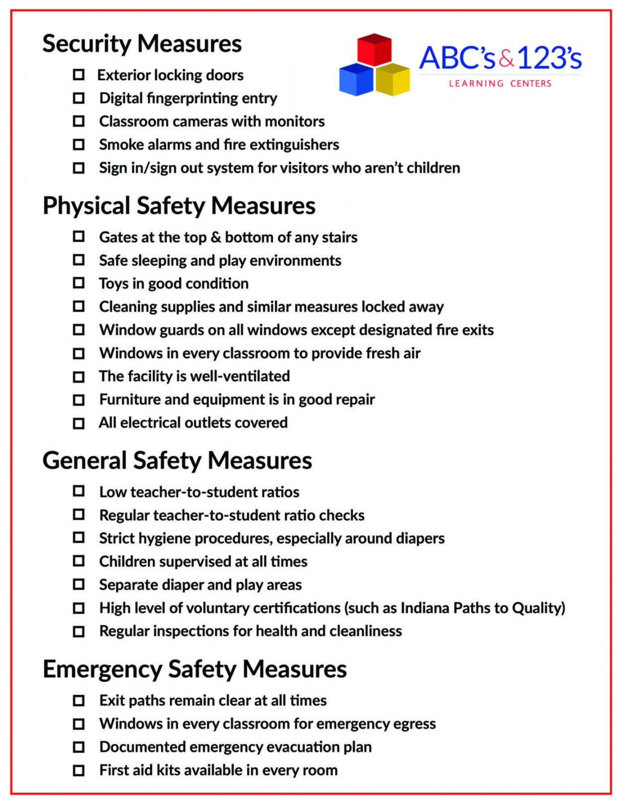 printable health and safety daily checklist template  campu child care safety checklist template samples